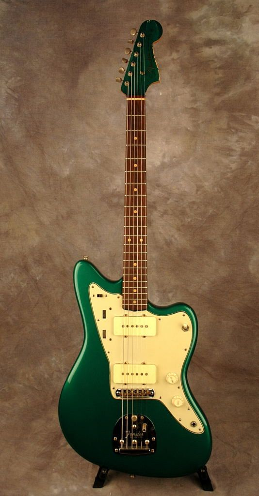 Fender 1960 Jazzmaster In Sherwood Green With Matching Painted Headstock And Slab Board Professionally Refi Fender American Deluxe Telecaster Guitar Pickguard