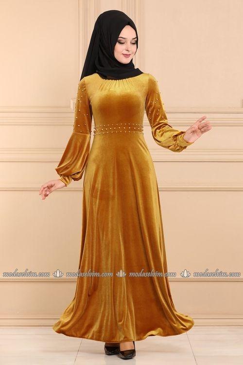 Modaselvim Elbise Incili Kadife Tesettur Elbise Pl6004 Hardal Elbise Elbiseler Elbise Modelleri