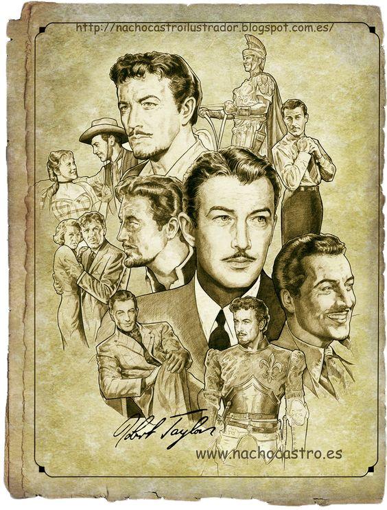 "Robert Taylor, illustration from the book ""Hombres de Hollywood"".Nacho Castro.Diábolo ediciones"