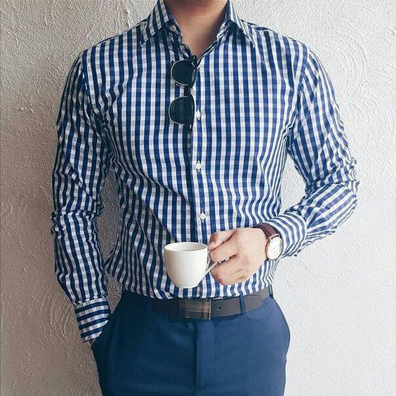 Plaid shirt and dark blue trousers
