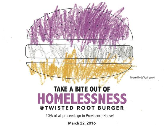 Providence House currently serves 75 families with children. Eat at Twisted Root Burger Co. today and help our families in need! Twisted Root will donate 10% of their sales when you mention Providence House. Thanks! Artwork colored by Ja'Kari!