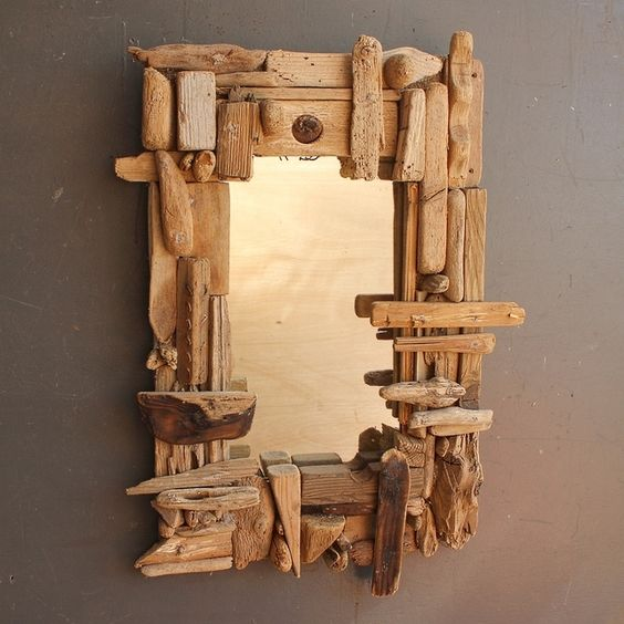 Driftwood Mirror, Driftwood  Mirror, Bleached  Drift Wood Mirror Cornwall UK…