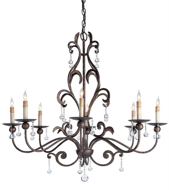 Iron and crystal Pompeii Chandelier