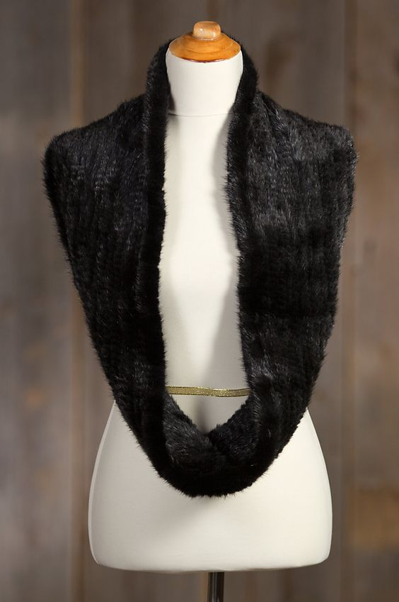This knitted Danish mink fur infinity scarf is fabulous whether you wear it…