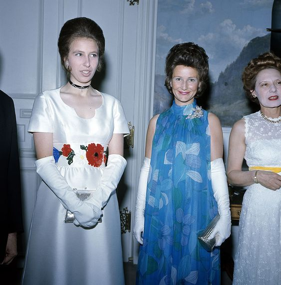 Princess Anne of Great Britain (left) with Princess Sonja of Norway (centre) during her five-day visit to Norway in June, 1971.  (Photo by Popperfoto/Getty Images)