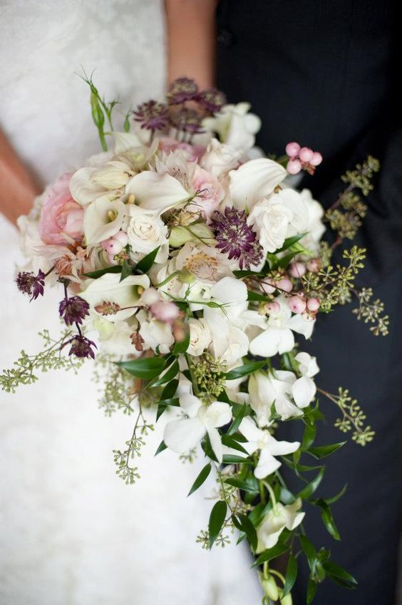 What A Beautiful Shower Bouquet Astrantia Small Calla Lilies And Singapore Orchids Cal Cascading Bridal Bouquets Flower Bouquet Wedding August Wedding Flowers