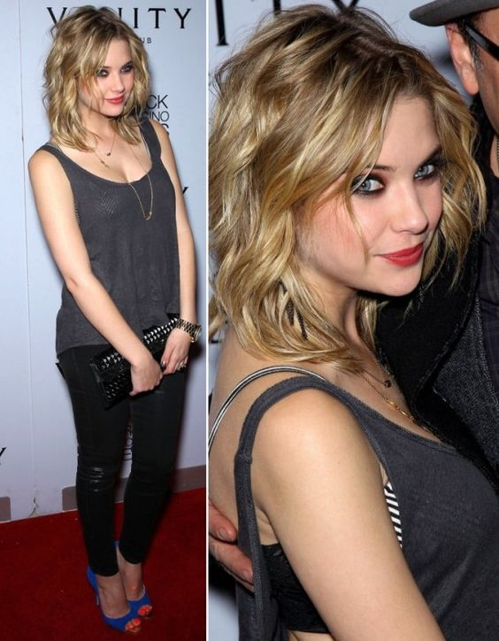 ashley benson short curly hairstyle
