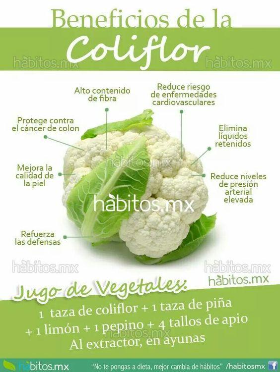 Unos #Beneficios de la #Hortaliza de la #Coliflor al #CuerpoHumano al consumirla: