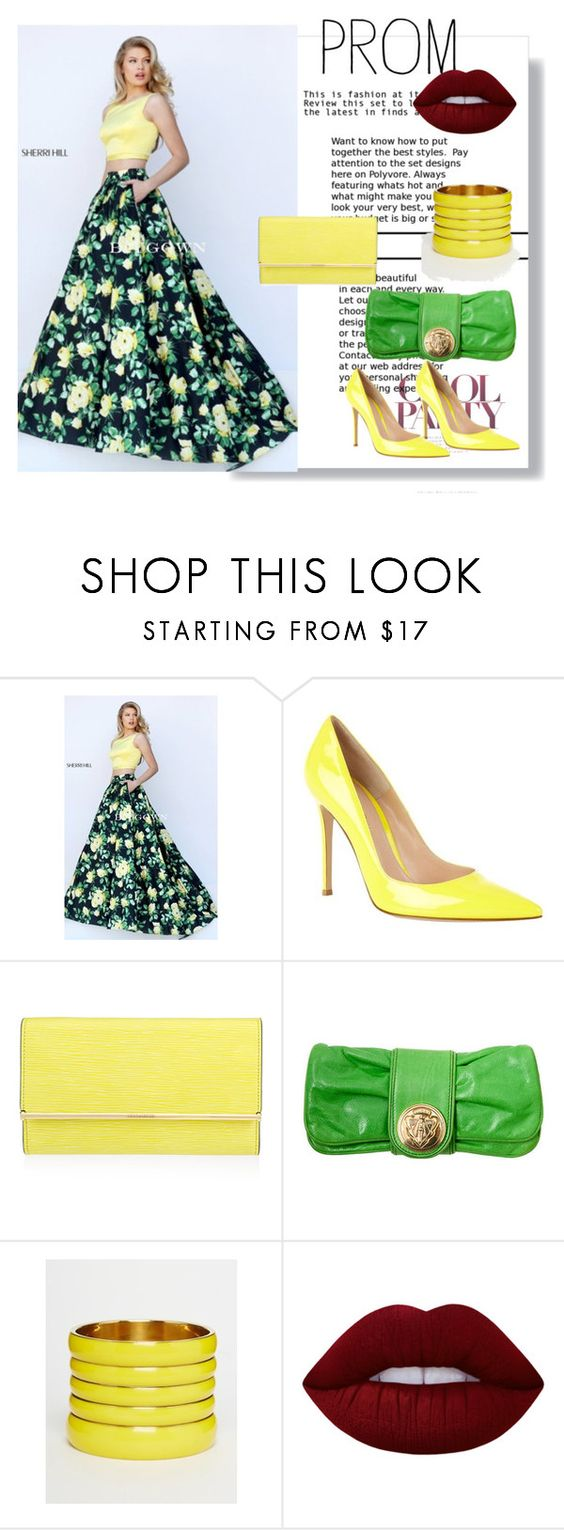 """""""3/A Line Sherri Hill 50401 2016 Yellow Print Prom Dress Two Piece"""" by nihada-niky ❤ liked on Polyvore featuring Sherri Hill, Gianvito Rossi, Henri Bendel, Tom Ford, ASOS, Lime Crime, Prom and biygown"""