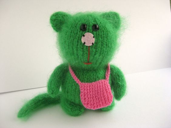 Green ,Mohair,  Kitty Cat, Knitted cat, Knitted kitty