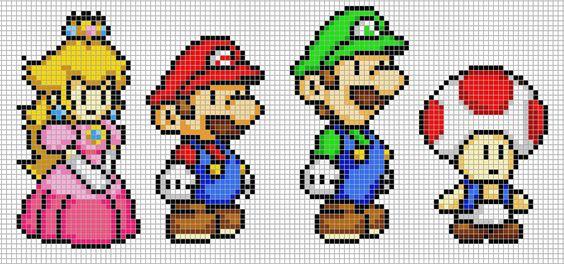 Mario, Luigi, Peach and Toad by Hama-Girl on DeviantArt ' hama bead paterns
