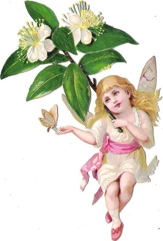 Oblaten Glanzbild scrap die cut Elfe 12cm Kind Flügel Engel Schmetterling Blume: