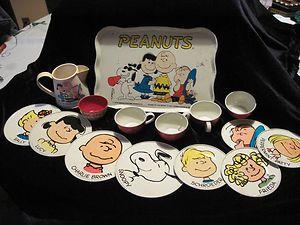 VINTAGE PEANUT'S METAL 15 PIECE TOY SERVING SET 8 DISHES PLATTER CUPS l@@k   eBay