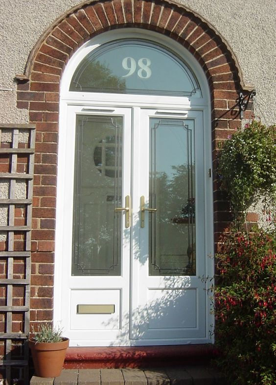 Double upvc front doors for arched porch google search - Upvc double front exterior doors ...