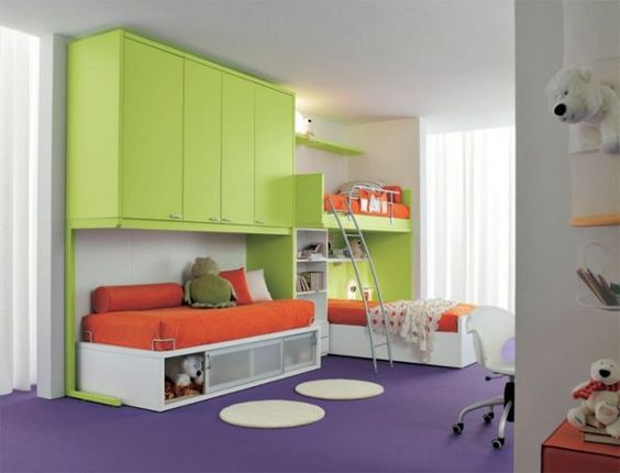 Lime Green Furniture Colorful Shade Purple Floor Lime Green Wardrobe Orange Bed Sheet Image