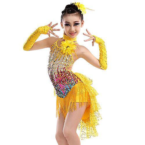 Children/'s Fashion Ballet Latin Dancewear Tassel Decor Salsa Rumba Dancing Dress