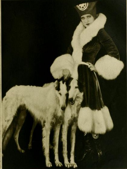 Norma Shearer and Russian wolfhounds