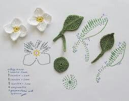 Flor con hojas a crochet con gráfico