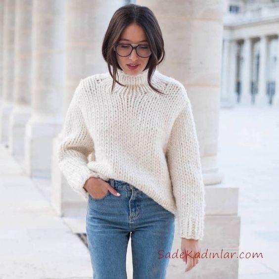 2020 Balikci Yaka Kazak Kombinleri Mavi Yuksel Bel Pantolon Beyaz Bogazli Kazak Moda Stilleri Bogazli Kazak Moda