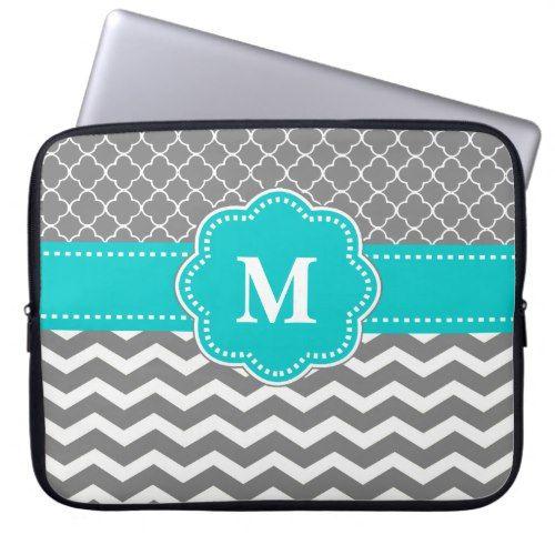 Personalized Computer Case Monogrammed laptop bag Blue Chevron Macbook Sleeve Monogrammed Laptop Sleeve Personalized 15 Macbook Case