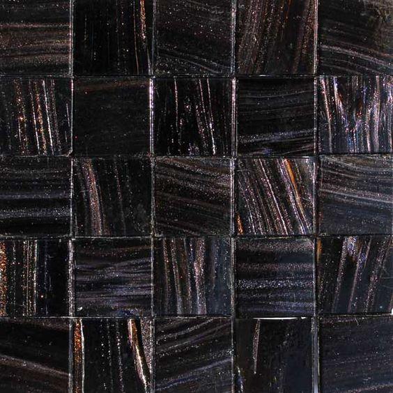 stout (black) 25 metallic glass mosaic tiles opaque