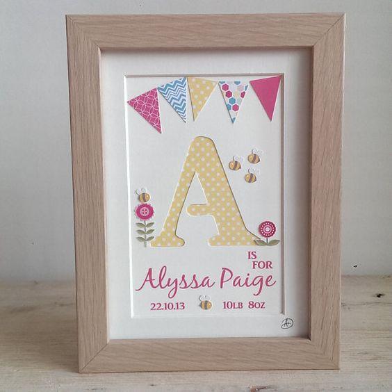 Girls Personalised Name Frame, Hand Cut Letter, Nursery Art, Gift
