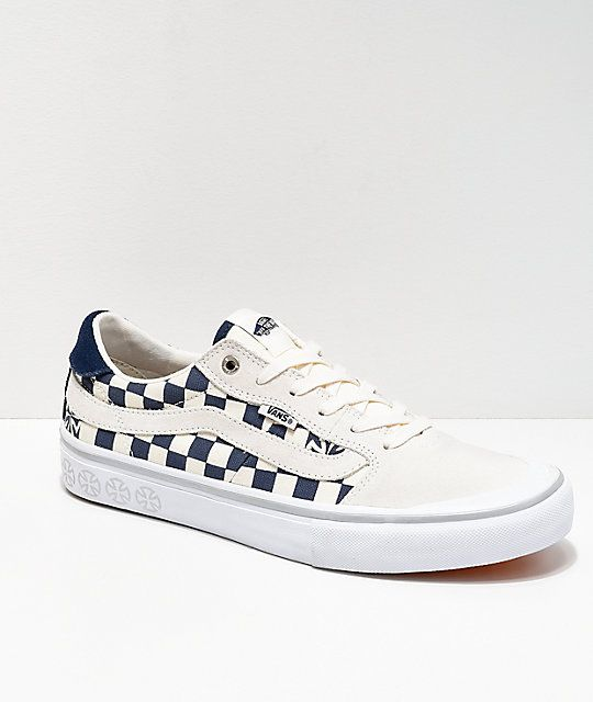 Vans x Indy Style 112 Blu & Wht Checker Shoes | Suede skate ...