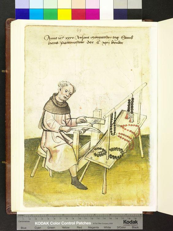 Hans Paternosterer (1435), a paternoster-maker in the Mendel Hausbuch: