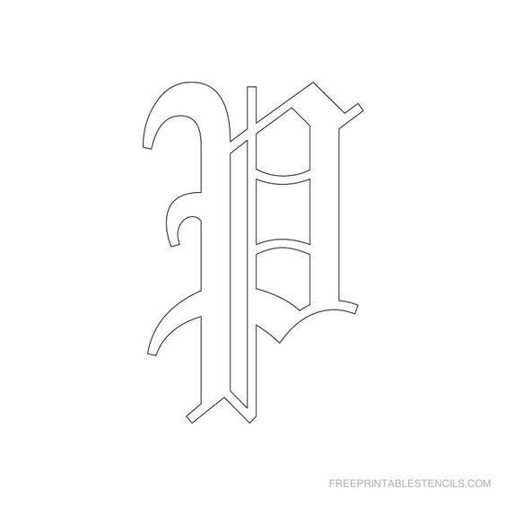 Printable Old English Alphabet Stencil P | Font | Pinterest ...
