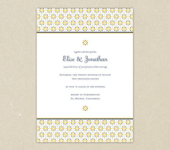 Wedding Invitations Sunny Buttercup  Classic Yellow and by elsiej, $2.00