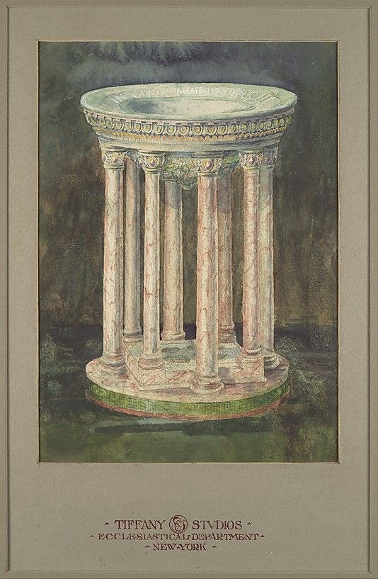 Design for a marble baptismal font,  Louis Comfort Tiffany.  Watercolor, gouache, pen and ink, and graphite on off-white wove paper (or artist board) in original warm grey window matt -overmatted with an archival matt.