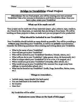 Pictures Bridge To Terabithia Worksheets - Kaessey