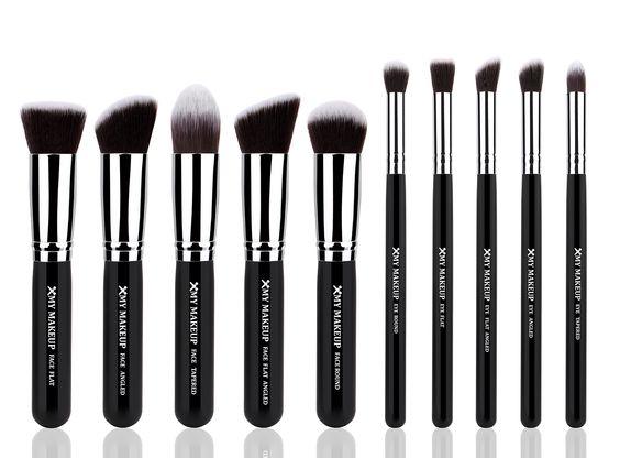 10pcs Professional Make up Brushes Set Foundation Blusher Kabuki Powder Eyeshadow Blending Eyebrow Brushes Black/silver