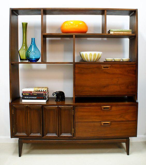 Vintage mid century modern wall unit room divider - Modern bookshelf wall unit ...