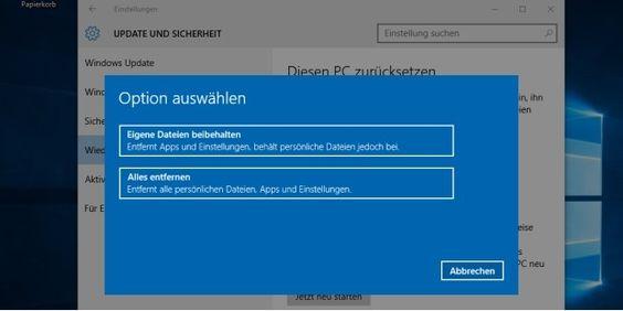 Windows 10 zurücksetzen: Das System biete dafür zwei Stufen an
