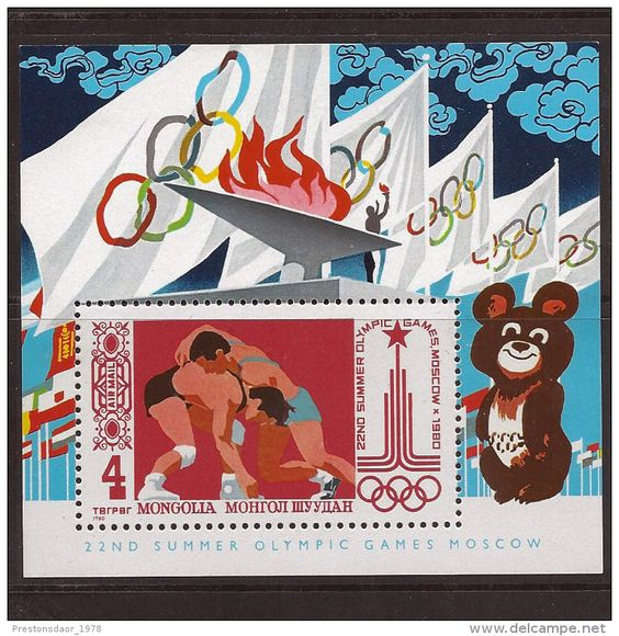 MINT STAMPS / BLOCK - OLYMPIC GAMES MOSCOW - 1980 - MONGOLIA ** / MNH…