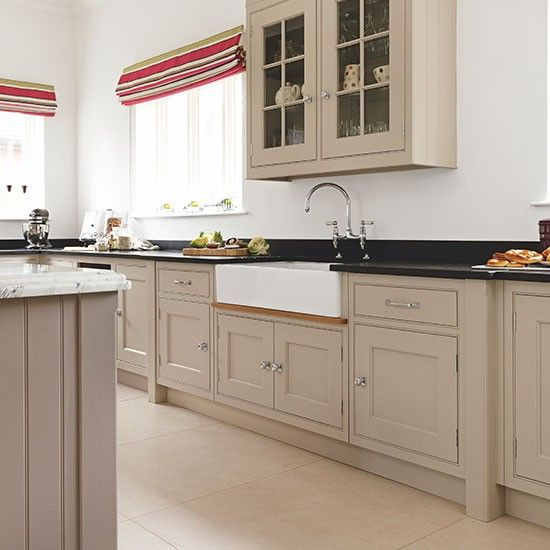 Kitchen Worktops Colours: Neutral Kitchen With Black Granite Worktop