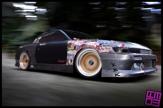 Sticker bombed S13 Silvia