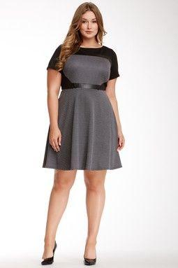 S.L. Fashions Colorblock A-Line Pleather Trim Dress (Plus Size)