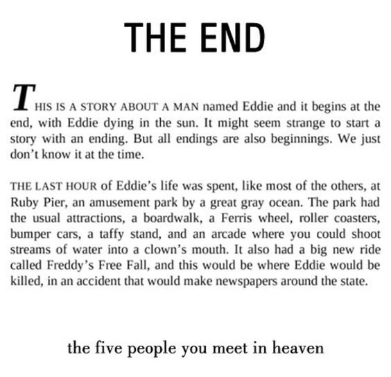 First page of Mitch Albom's The Five People You Meet in Heaven.
