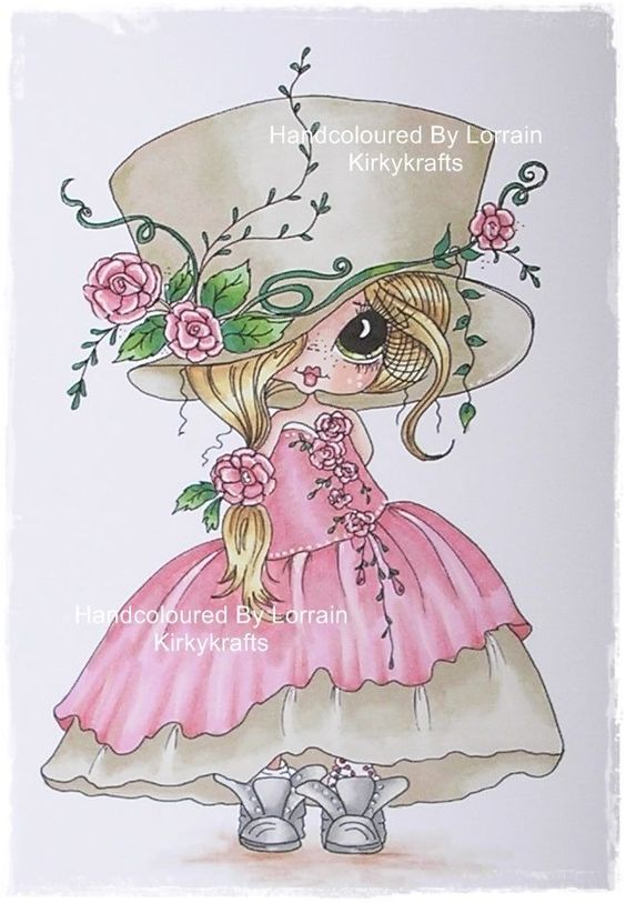 OOAK HANDCOLOURED SHERRI BALDY CARD TOPPER IMAGE- BY KIRKYKRAFTS1- BIG HAT