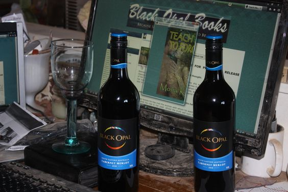My launch party.  Black Opal wine and my book on Amazon!!