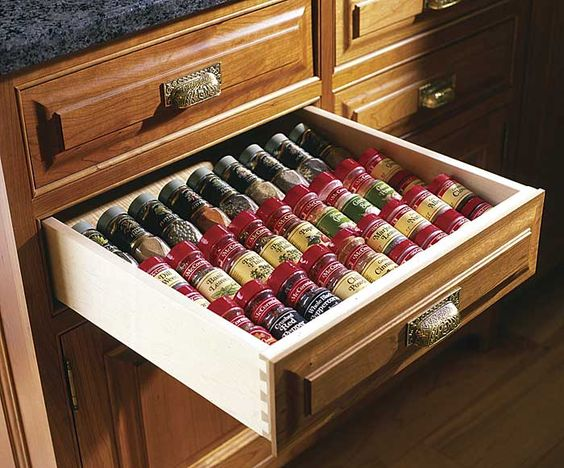 drawer spice rack organization pinterest. Black Bedroom Furniture Sets. Home Design Ideas