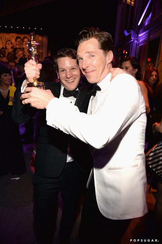 Pin for Later: Die 55 besten Bilder der Oscars 2015 Graham Moore und Benedict Cumberbatch