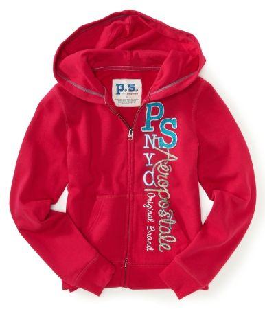 Kids' Vertical PS Aeropostale Zip-Front Hoodie
