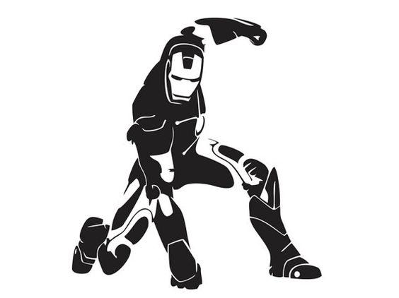 Iron man silhouette 5 vinyl decal sup ml4 12 via etsy