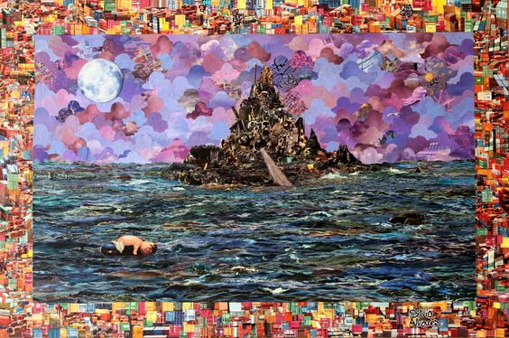 A ilha - collage sobre MDF - colagem de Silvio Alvarez - arte, art, collage, colagem, collage art, collage artist, paper, papel, revistas, recortes, sustentabilidade, reciclagem, reaproveitamento, arte ambiental, brazilian art, silvio Alvarez, surrealism, surrealismo, surreal, collagework, ilha, mar, lixo, boneca, boia, boiar, naufragio, naufrago, ocean, oceano, descarte, sucata, coleta seletiva,