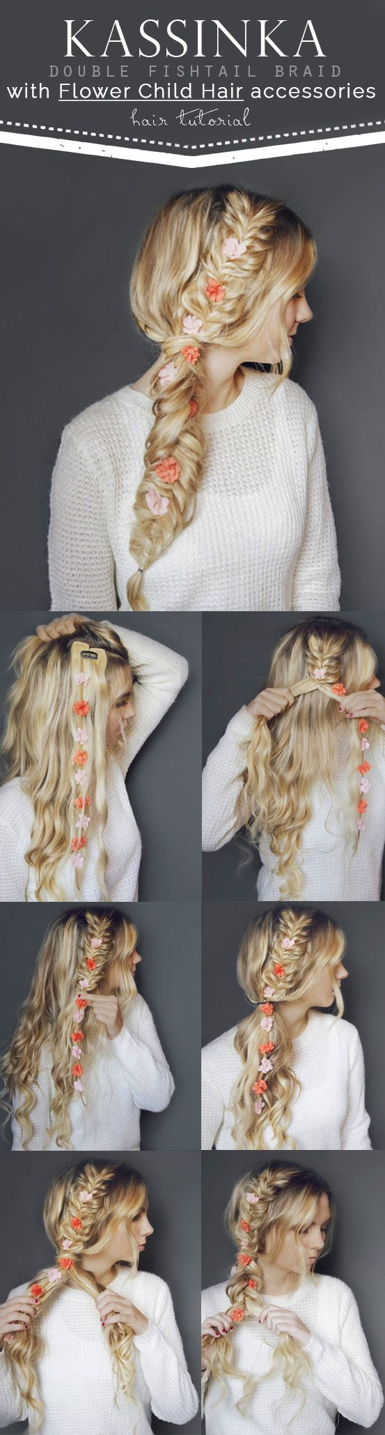 Kassinka Hair Tutorial with Bleach Blonde Luxy Hair extensions in perfect voluminous flower fishtail braid. The perfect Boho hairstyle for special occasions. Photo by: http://www.kassinka.com/double-fishtail-braid-hair-tutorial/