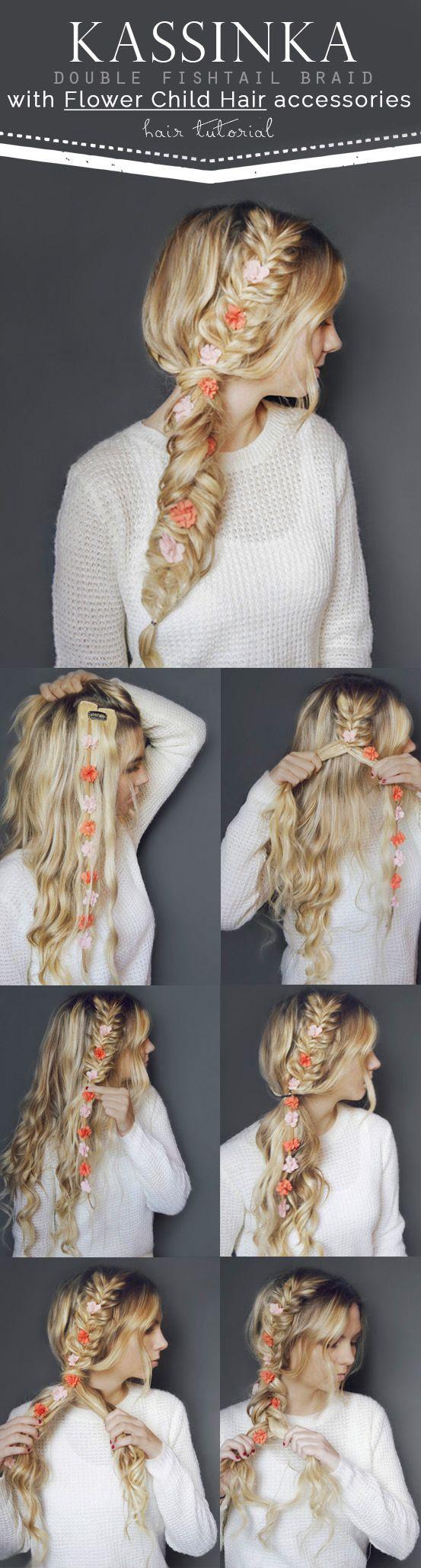 Kassinka hair tutorial with flower child hair accessories hair