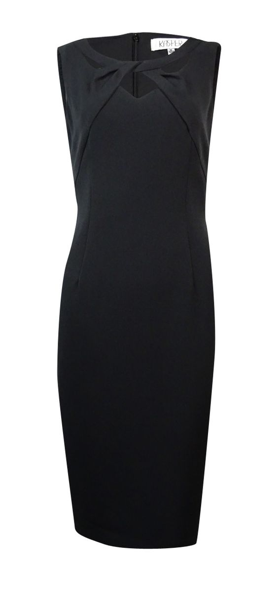 Kasper Women's Solid Twist Cutout Neckline Seamed Sheath Dress